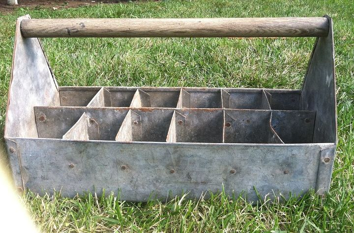 Vintage industrial tool box or caddy.  Love the whole thing.
