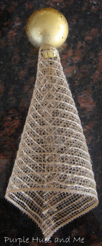mesh ribbon angel, crafts, seasonal holiday decor, wreaths, Glue ball onto one end of mesh ribbon to form main body