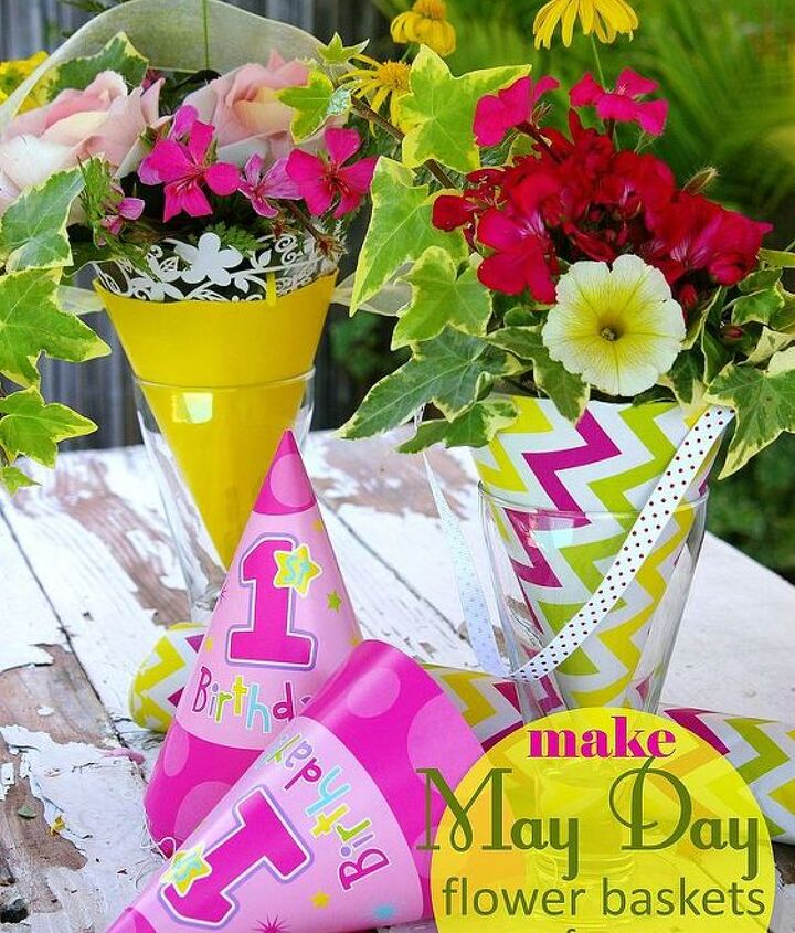 Sweet May Day flower baskets / cones made from leftover party supplies!