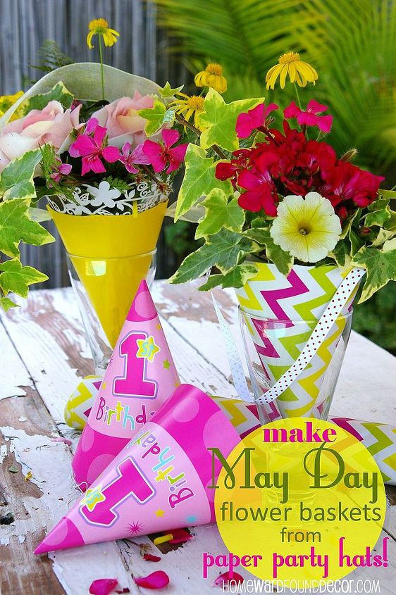 may day flower baskets made from paper party hats, crafts, flowers, gardening, Sweet May Day flower baskets cones made from leftover party supplies