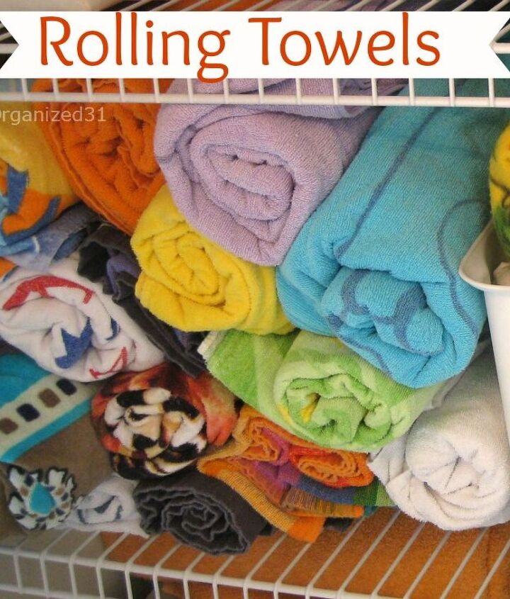 2.  Roll larger towels so that they take up less room.