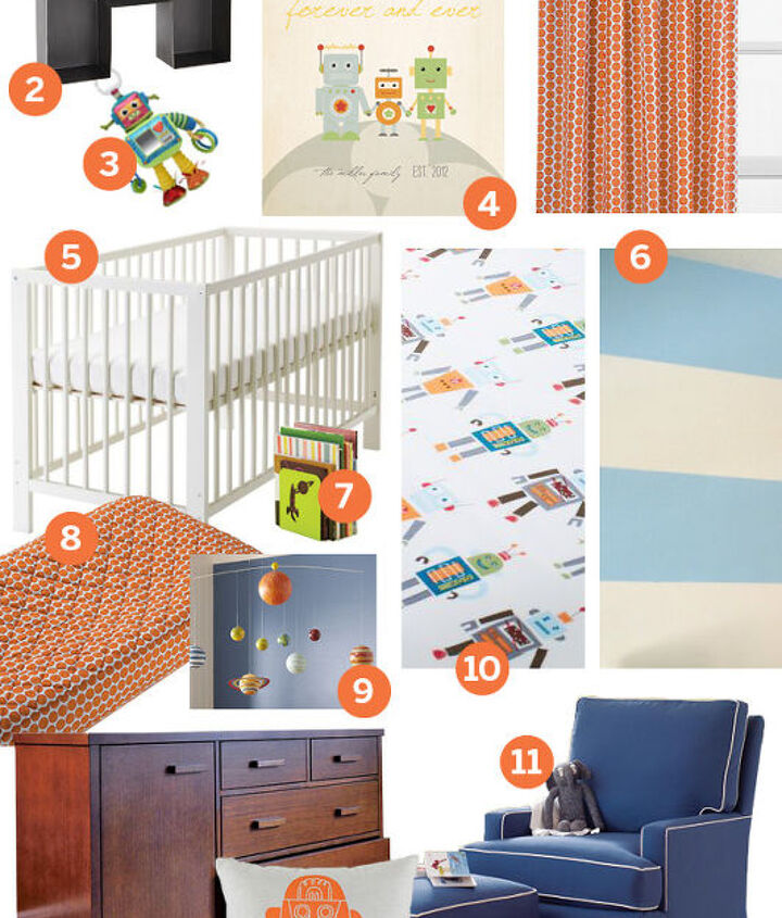 This Robot themed boy's nursery mood board in Orange and blue with hints of green includes finds from Land of Nod, Pottery Barn Kids, Ikea & Minted