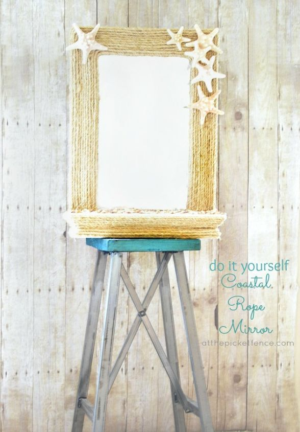 All this mirror needed was a little rope and shells to turn it into a true beach beauty!