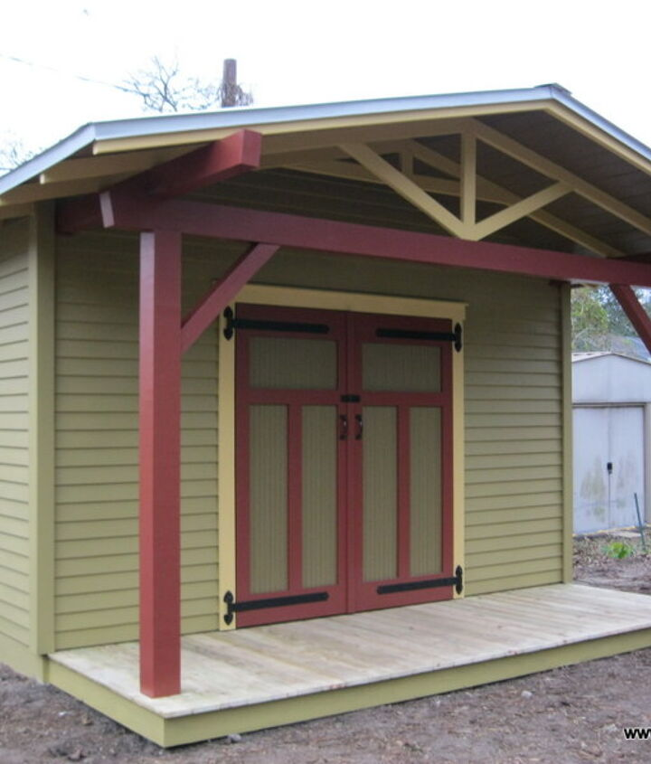 The potting shed has a 4' deep porch with a wood deck