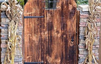 backyard renovation, landscape, outdoor living, patio, ponds water features, porches, The Husband built this rustic garden gate and stacked stone pillars to welcome everyone into the backyard space