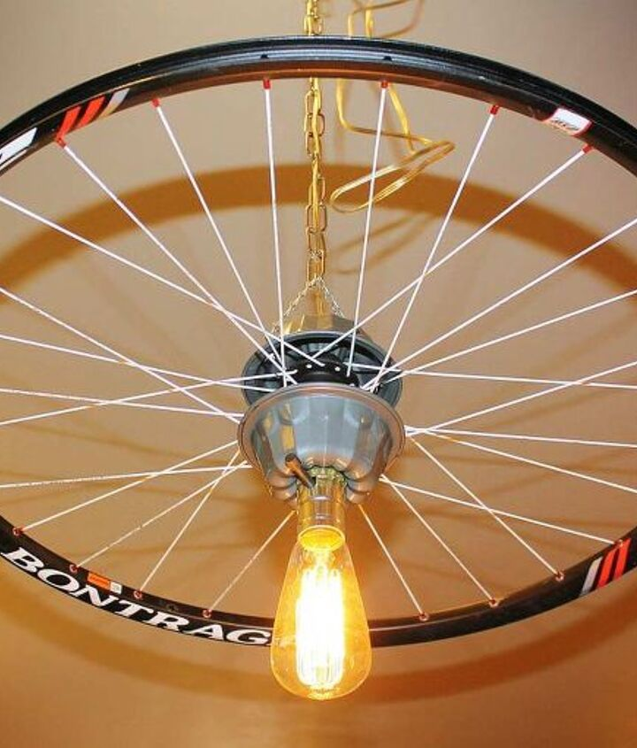 repurposed upcycled bicycle rim pendant hanging light, lighting, repurposing upcycling