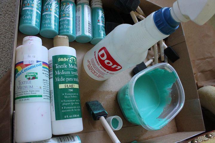 spray bottle of water, acrylic paint and fabric medium