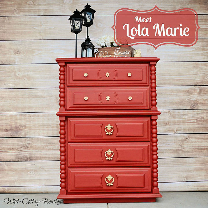 meet lola calient red dresser before after, painted furniture