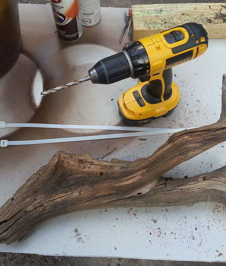 what can you do with a piece of drift wood a drill and 2 cable ties, gardening, repurposing upcycling, woodworking projects