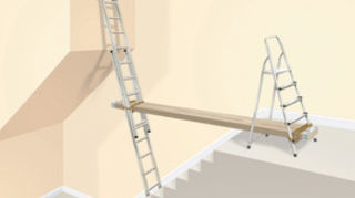 q how to paint staircase wall without a scaffold, painting, stairs, plank and two ladders you can also just use the ladder on the left