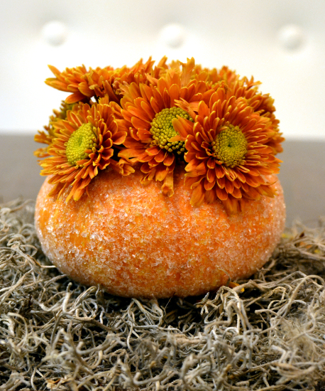 miniature pumpkin vases, container gardening, crafts, decoupage, flowers, gardening, painting, Mini pumpkin vase covered in Epsom salt