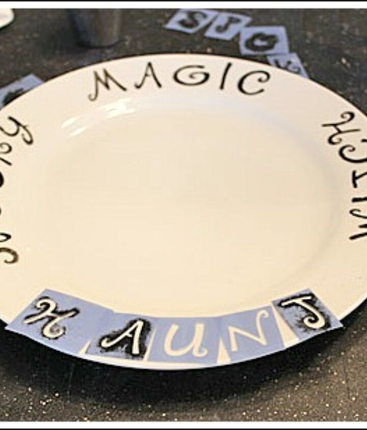 DIY Halloween plates with stencils and porcelain paint. For complete instructions on any of my DIY Halloween projects stop by my website.  http://www.decorating-ideas-made-easy.com/halloween-decorating-ideas.html