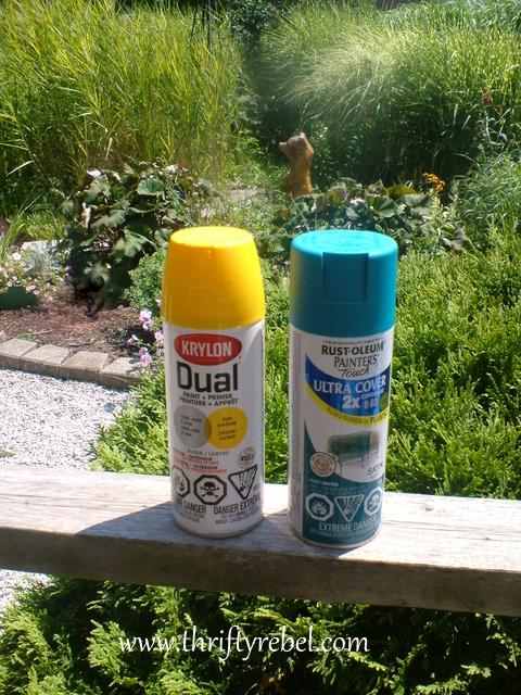 I used Krylon Sun Yellow and Rustoleum Lagoon Blue.