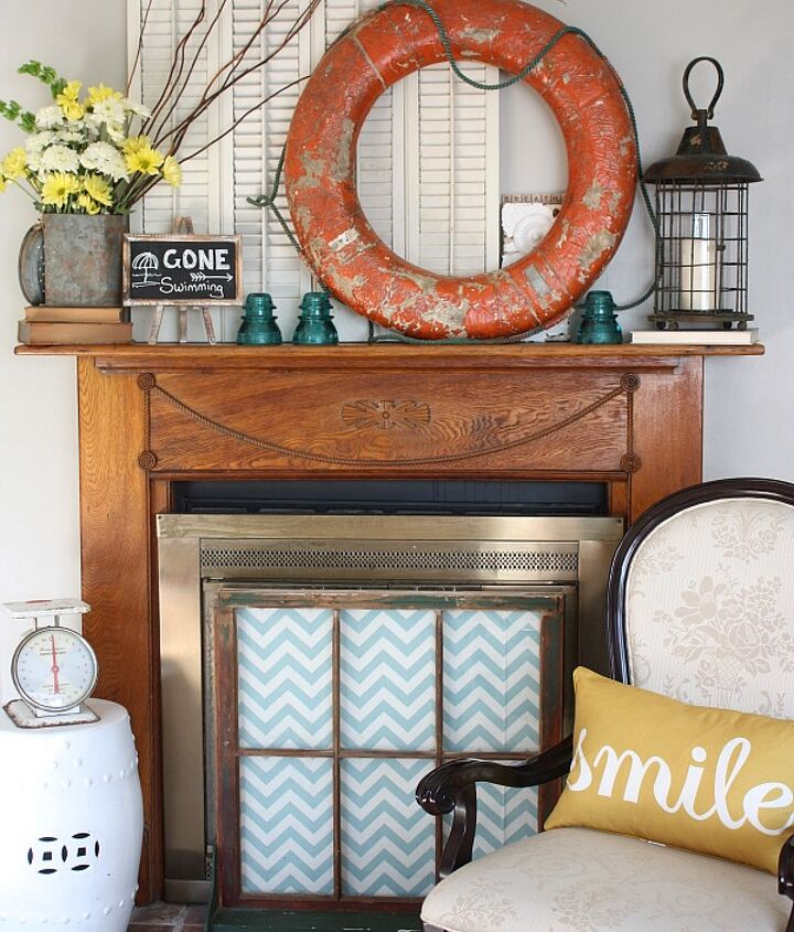 I'm really thrilled with how my Summer mantel came together. It's quirky and fun.