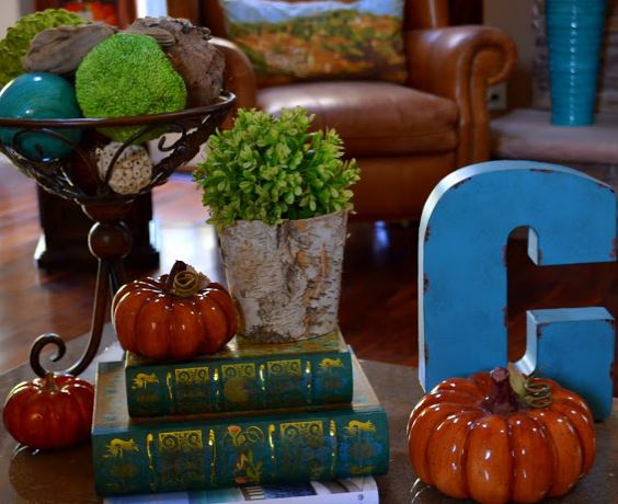 Fall vignette on the coffee table