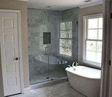 house flip before and after master bathroom, bathroom ideas, diy, flooring, home improvement, tile flooring, tiling