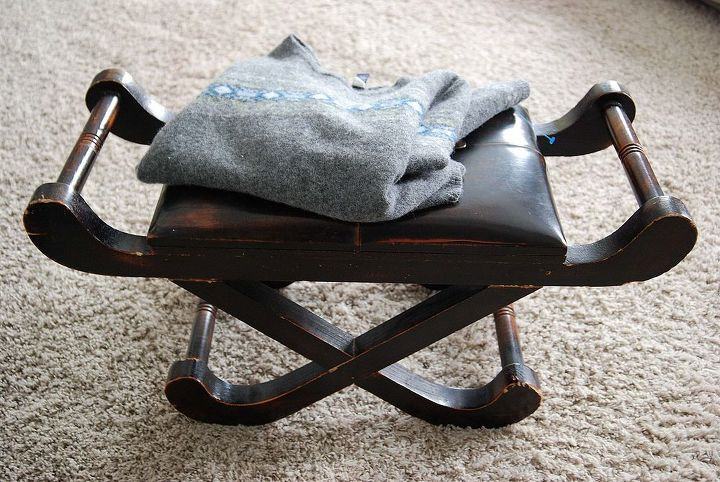 Supplies include footstool, old sweater and paint of your choice.