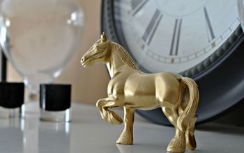 Thrifted Art: A Plastic Horse Goes Gold and Glam!