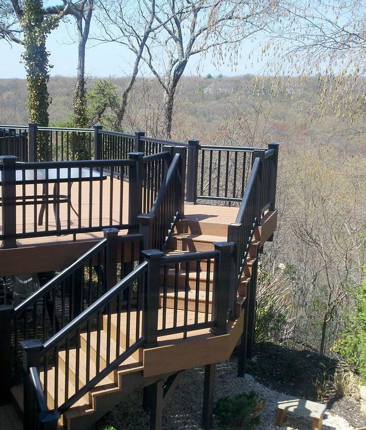 Tip: On second story decks, consider breaking up the staircase with one or more landings. This adds to the drama and safety of the staircase and in this case takes up less space than a straight stairs. http://www.deckandpatio.com/decks