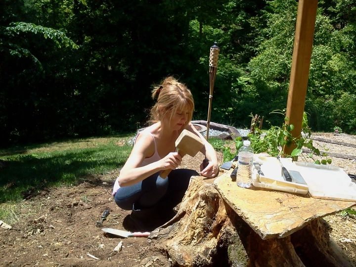 making a fairy home from an old stump, gardening, outdoor living, Hand carved I really could use some nice tools but for now I use what I have