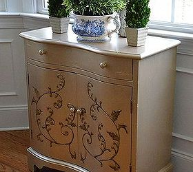 Cabinet Makeover With Martha Stewart Metallic Paint, Painted Furniture,  Used MS Metallic In Golden