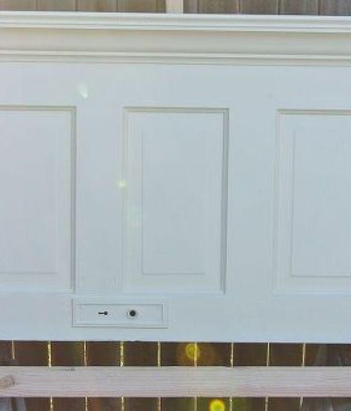 wall mounted 5 panel old door headboard painted popcorn white, bedroom ideas, doors, painted furniture, repurposing upcycling