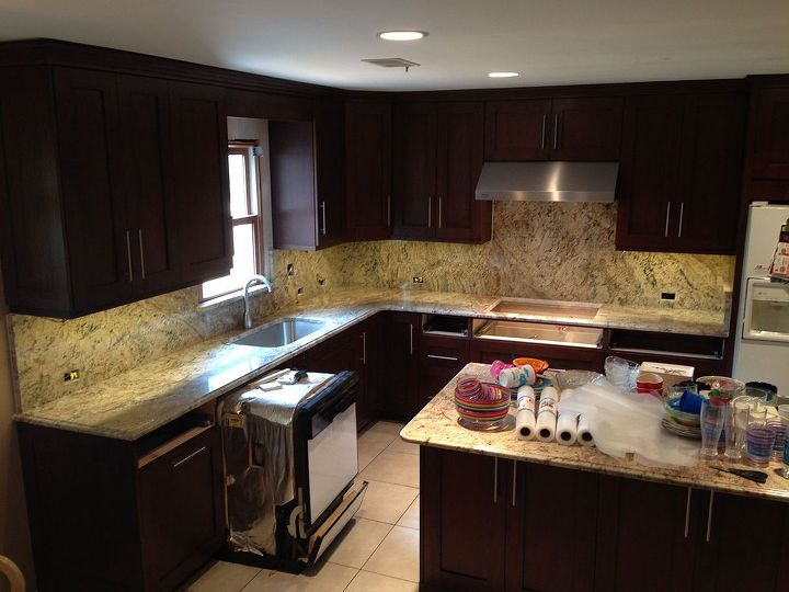 typical full height back splashes in granite, countertops, flooring, kitchen cabinets, kitchen design, tiling, Typhoon Bordeaux with full back splashes