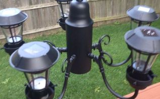 solar chandelier, lighting, outdoor living, repurposing upcycling