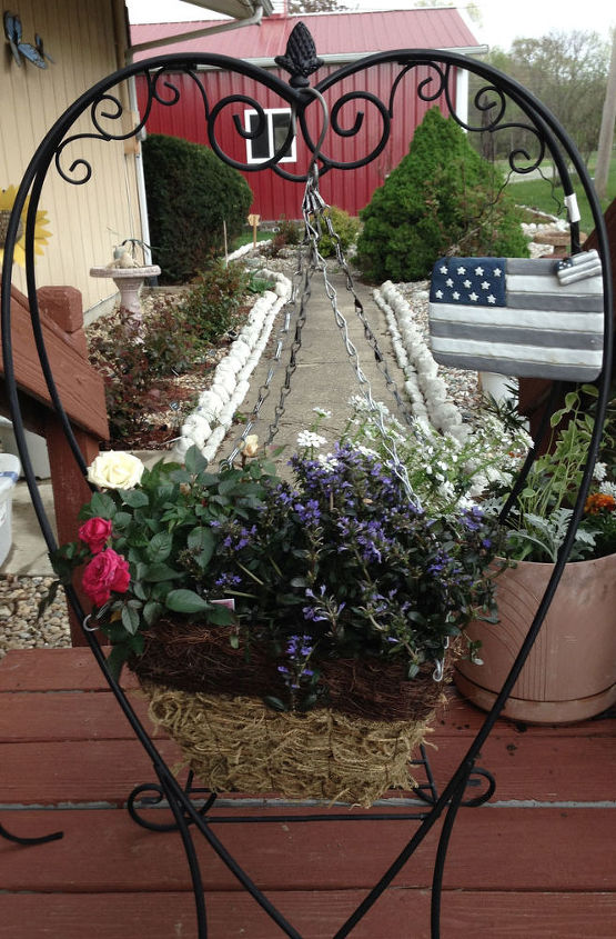 Red   White   and Blue Plantings with Heart