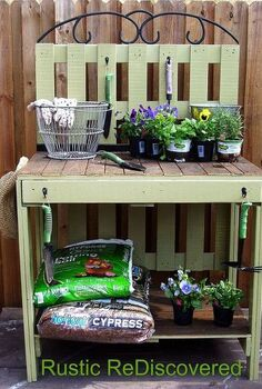 pallet potting table, gardening, pallet projects, Completed table with shelf for storage