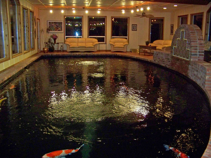 The pond is approximately 17 X 40 and it's a wonderful room to spend winter months in watching the kids swim. The pond is over 9 feet deep and was build as a swimming pool to pass all the WA state codes.
