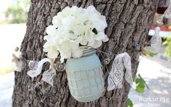 rustic ball jar tree garland, crafts, flowers, gardening, repurposing upcycling, A finished Ball jar hung on the tree with small hooks