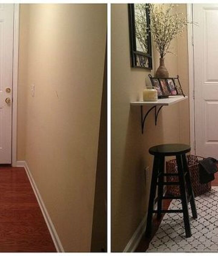 Here is the before and after of my entryway space. Before it was cold and uninviting. After it is now a warm and welcoming space!