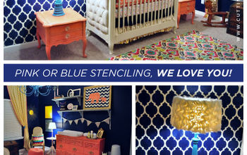 pink or blue stenciling we love you, bedroom ideas, painting