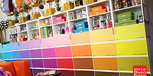 paint chip cabinet doors, craft rooms, kitchen cabinets, painting, storage ideas, The cabinets in my studio are basic IKEA cabinets called Besta I have 6 cabinets in a row each with 2 doors for 12 cabinet doors in total