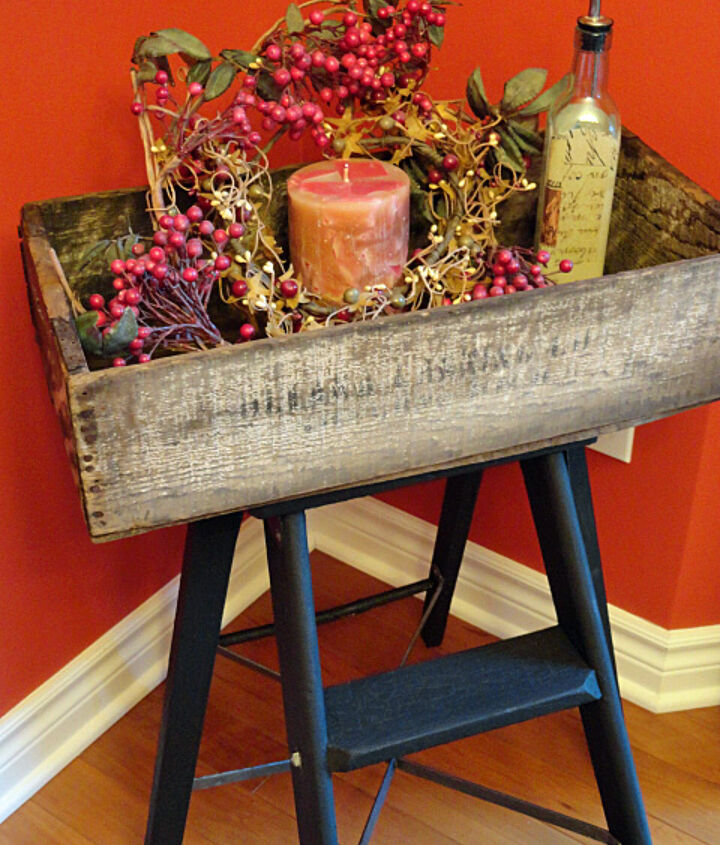 step ladder makeover old crate fun tray table, painted furniture, repurposing upcycling, rustic furniture