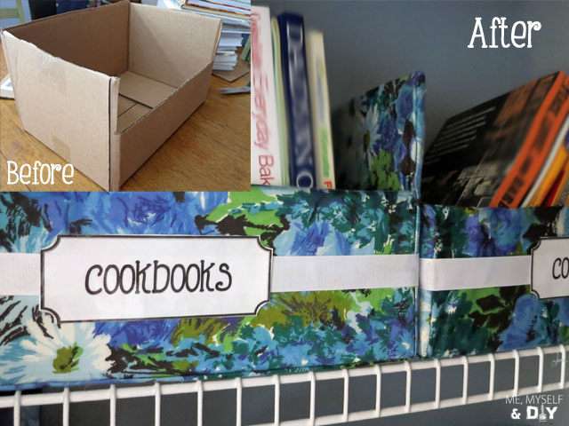 I took old shipping boxes from Christmas and made cookbook holders.