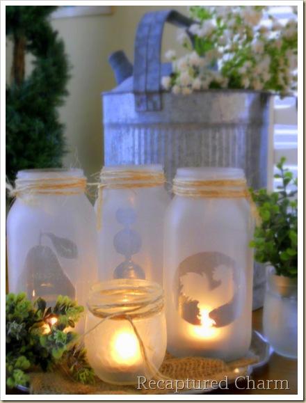 Simple spray glass frosting on mason jars