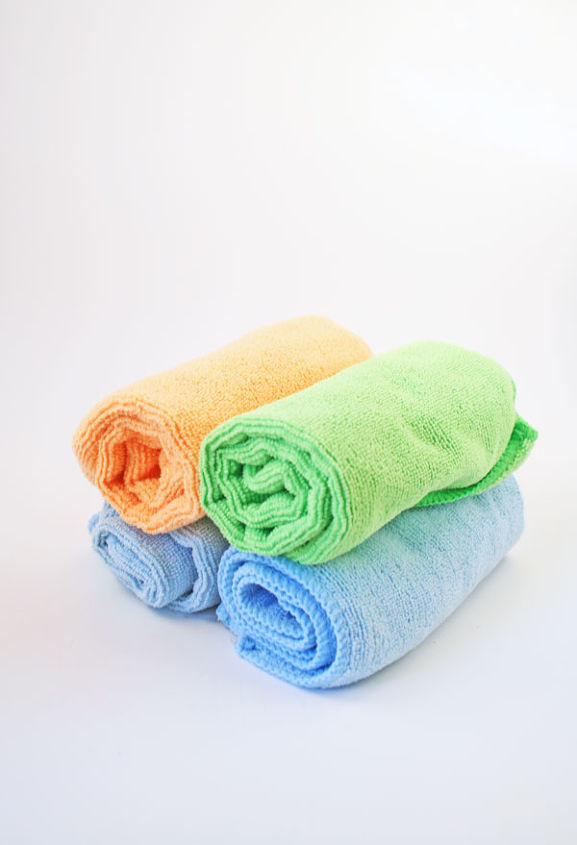 Microfiber Cloths for All Purpose Cleaning: I decided to try cleaning with microfibers and never looked back. They grab and hold dust, hair, grime, and moisture. Plus, you can just pop them in the washer and dryer.