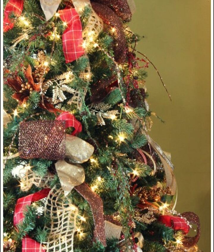 how to decorate a christmas tree with only ribbon and greenery, christmas decorations, crafts, seasonal holiday decor, For a little glamor I added some bronze ribbon to the mix