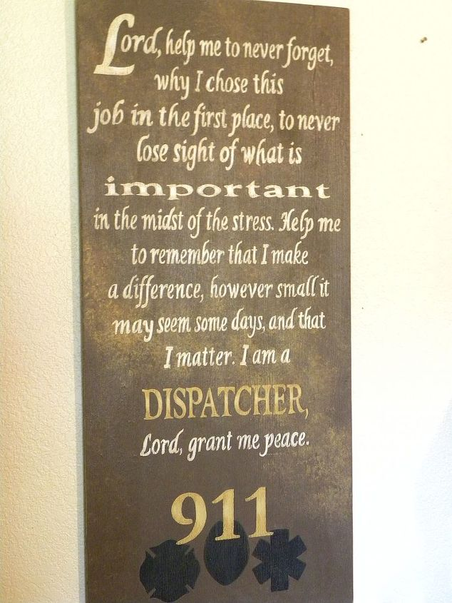 """Dispatcher's Prayer by GranArt, painted sign using craft enamel paint on 16"""" x 36"""" wood board."""