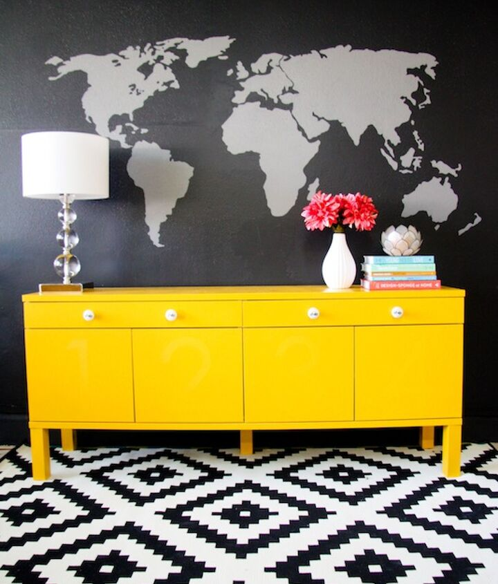 The combination of the wall mural and the yellow dresser makes a huge statement!