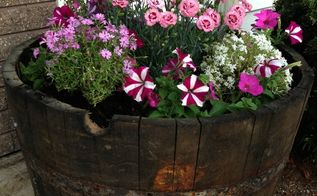 how to build a whiskey barrel garden in an hour, container gardening, gardening