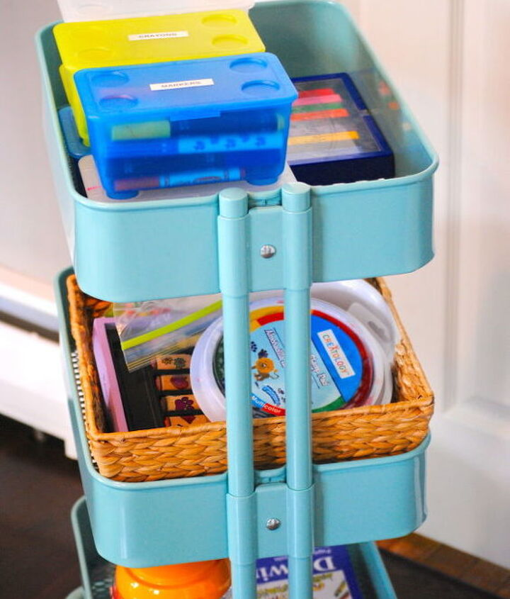 Baskets and folders fit perfectly below. Easy cleanup!  More pics on the blog.