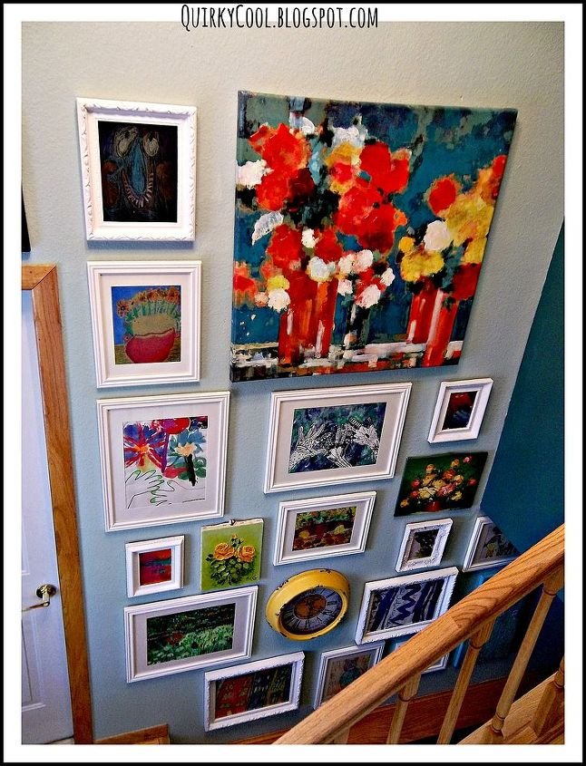 children s art gallery wall, foyer, home decor, stairs