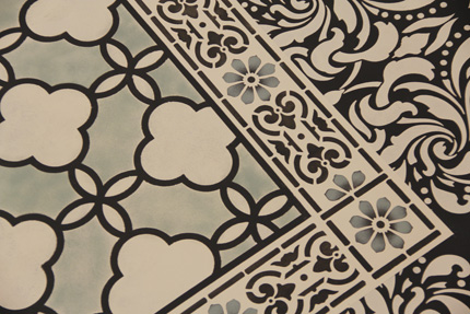 Our Large Eastern Lattice Moroccan Stencil is a great complement to the Classical Border & Corner Stencil. http://www.royaldesignstudio.com/products/eastern-lattice-moroccan-stencil