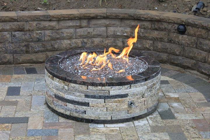 granite fire pit, outdoor living