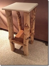 Here's a little table Mike made from White Birch logs.