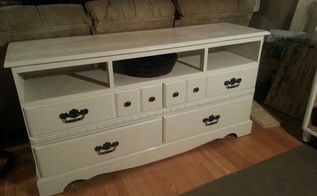 dresser turned entertainment center, painted furniture, repurposing upcycling