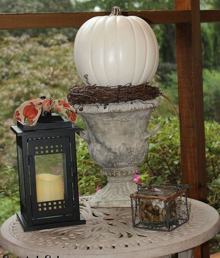 A few Fall decorations- the candles in the lantern and basket are on timers and turn on in the evening.